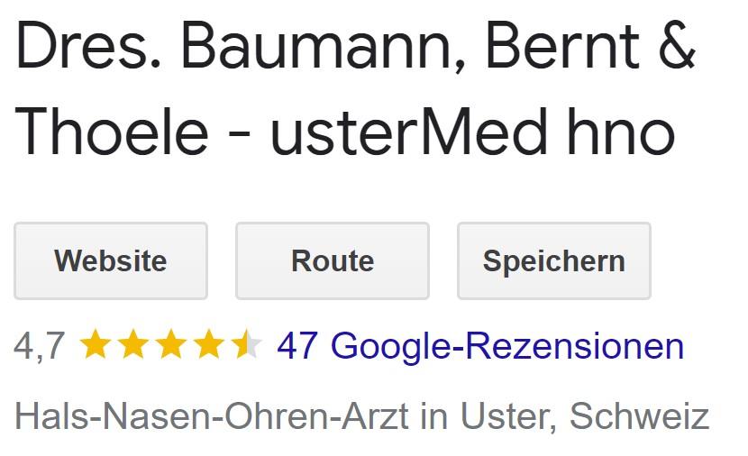 usterMed hno - unsere google-Rezensionen